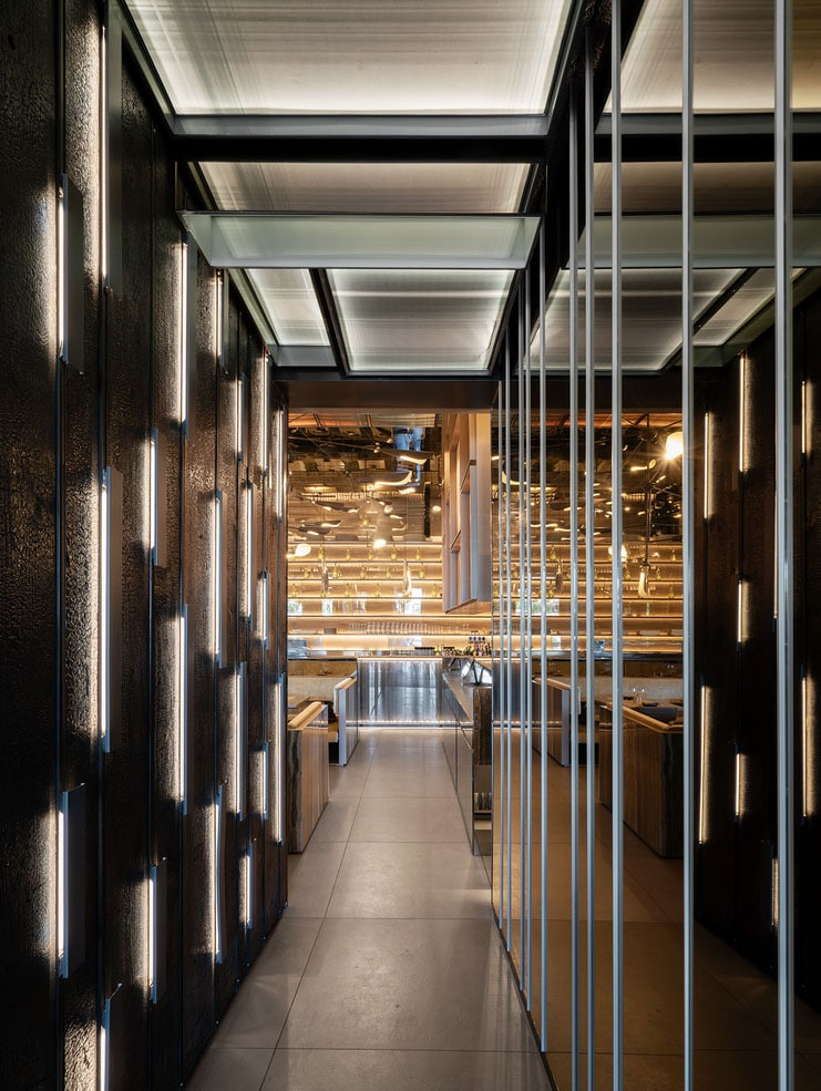 Interior view of Sushi Club. asian restaurant in Corbetta, Milan Area. Interior design by Lai Studio - Maurizio Lai Architects
